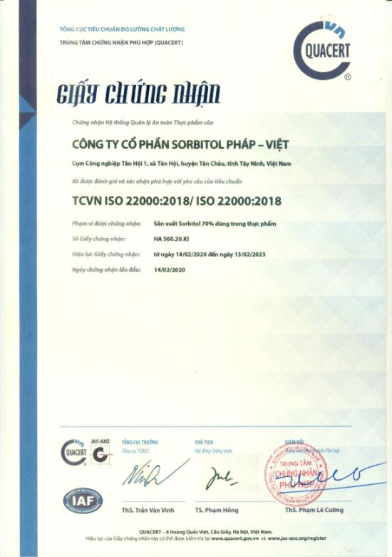 Chứng nhận ISO 22000:2018